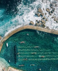 Swimming in the sea in Sydney. Wel almost minus the sharks and the crashing waves! The Bronte Rock pool is the calm and safe alternative to the waves of Bronte beach. Delightful drone picture by @gabscanu. #travel #sydney #beach #australia #brontebeach #exploreeverything #travelerparadise by traveler.paradise http://www.australiaunwrapped.com/ #AustraliaUnwrapped