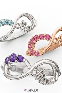 Make Mother's Day unforgettable with the perfect gift! Design a dazzling Mom Infinity Ring especially for her, with the birthstones of her loved ones & your choice of metal and engraving. Order from Jewlr.com for free shipping, free resizing, 1-year warranty and a free bonus gift with every order!
