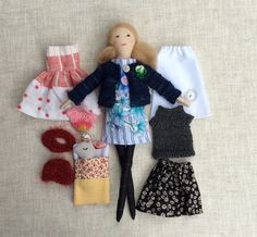Modern cloth doll, Doll with clothes, Handmade fabric doll, doll set,  size…