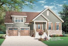 Craftsman with 9' ceilings, 3 bedrooms and a double garage  http://www.drummondhouseplans.com/house-plan-detail/info/1002894.html