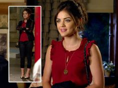 Pretty Little Liars - Aria Montgomery -season 2 - red tank, leather jacket