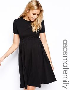 Image 1 ofASOS Maternity Skater Dress With Slash Neck And Short Sleeves In Longer Length