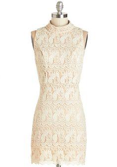 Cumulus Cascade Dress - Cream, Solid, Crochet, Scallops, Party, Daytime Party, A-line, Sleeveless, Summer, Woven, Better, Short, Cotton