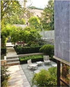 contemporary, modern courtyard landscape design | wood, stone, privacy