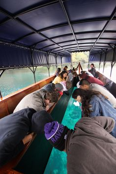 Texas State university students on glass bottom boat tour on Spring Lake. Photo by Megan Otnes Glass Bottom Boat, Texas State University, Spring Lake, Boat Tours, Tourism, Wanderlust, Students, Environment, Turismo