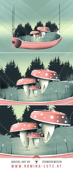 """""""Fishing for Mushrooms"""" by Schwebewesen   Romina Lutz vector illustration surreal surrealism digital art artist flat illustrator photoshop   nature landscape scenery fungus amanita fly fish fishing strange boat forest funny water lake funghi pilze boot fische"""