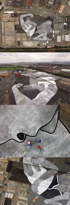 Artists Ella & Pitr Complete Work on 21,000 Meter Rooftop Mural in Norway