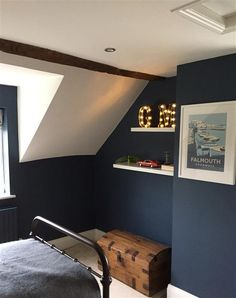 Farrow and Ball Stifkey Blue - master bedroom? - Farrow and Ball Stifkey Blue – master bedroom? Blue Master Bedroom, Attic Bedroom Small, Blue Bedroom Decor, Attic Rooms, Attic Bathroom, Warm Bedroom, Attic House, Attic Playroom, Attic Apartment