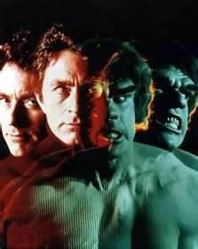 """The Hulk. My little brother, Steve...loved the idea of the Hulk. He had the underoo's and talked about it but when it came to """"watching"""" it....well, he watched it from the hallway....Asking us if it was over yet. It scared him. He still watches it from the hallway today. (Busting out laughing)"""