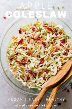 delicious coleslaw with apples and cranberries tossed in a creamy, vegan tahini maple dressing. Recipe is versatile and can be made in advance and stored in the refrigerator until ready to serve. Serve as a side dish or light meal. Healthy Coleslaw Recipes, Healthy Vegan Snacks, Vegan Recipes Easy, Raw Food Recipes, Salad Recipes, Vegetarian Recipes, Apple Coleslaw, Vegan Coleslaw, Healthy Recipes
