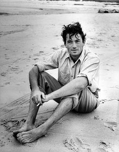 Gregory Peck. on a beach. <3