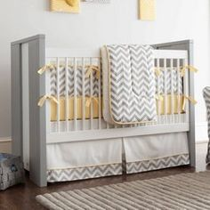 Stella Ikat Crib Bedding | Gray and White Ikat Pattern Gender Neutral Crib Set | Carousel Designs