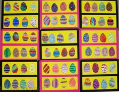 You need: cardboard egg shape 10 cm high pencil white drawing sheet several colour materials, like markers, colour pencils, crayons, ch. Easter Art, Easter Crafts, Easter Eggs, Artists For Kids, Art For Kids, Colored Paper, Colored Pencils, Spring Art Projects, Black Construction Paper