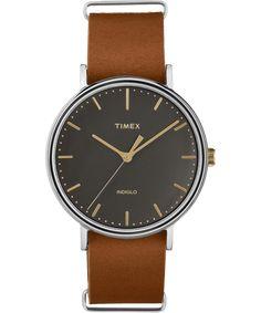 Timex Fairfield 41mm Slip-Thru Leather Strap Watch Men s Casual Wardrobe a2bd475409