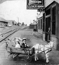 Two children in goat cart in front of Harvey House Lunch Room, Frisco Line, Rogers, Arkansas (MSA) by MissouriStateArchives, via Flickr