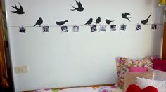 Picture clothes line with silhouetted birds: wall design <3