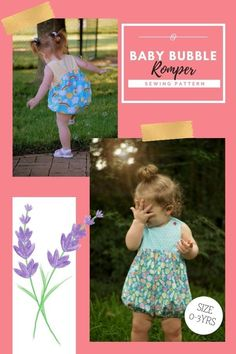 Baby Bubble Romper sewing pattern (0-3 years). This classic romper with a gathered-bottom bubble comes both in long and short lengths. The designer has included complete instructions for sewing a fixed inseam or a snap inseam with either press-in snaps or snap tape. The designer says - You'll love the unique look the gentle curve gives to this classic shape. There is plenty of room on the bib for your applique or embroidery. The bubble bodice is fully lined while the Romper is unlined. You can t