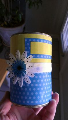 Gift can decorated  with scrapbook paper