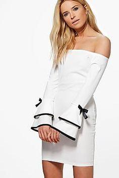 3404671b8dd7 Abigail Off Shoulder Frill Sleeve Detail Bodycon Dresses For Sale