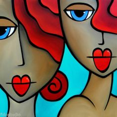 Sister Act Original Abstract Modern Pop Art Huge Colorful Painting FIDOSTUDIO | eBay