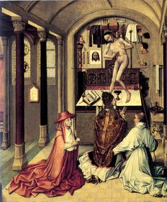 Robert Campin - - Mass of Saint Gregory-Brussels, Musees Royaux des Beaux-Arts. Catholic Online, Catholic Art, Religious Art, Roman Catholic, Robert Campin, Maximilian I, Saint Gregory, Renaissance Paintings, Art Database