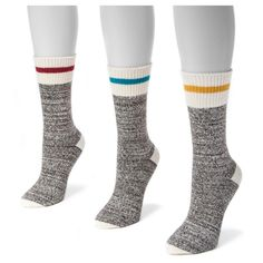 Muk Luks Women's 3 Pair Pack Striped Marl Boot Socks - Multicolor One Size Fits Most, Grey