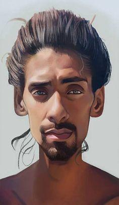 """""""Man"""" - Carlos Alberto {figurative character art male head bearded face digital painting}"""
