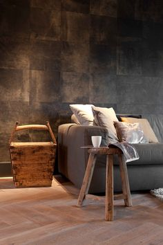 ♂ Masculine living room with rustic looking texture touch interior design in grey