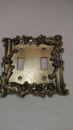 brass double light switch cover plate vintage nice detail floral roses design