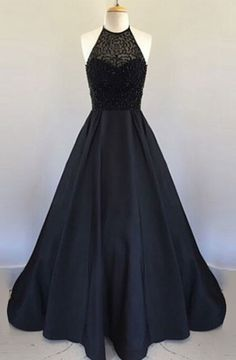 Decent Halter Floor Length Black Prom Dress with Beading Pleated