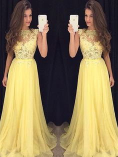 New Arrival Natural A-line Sleeveless Chiffon Prom Dresses - by OKDress UK