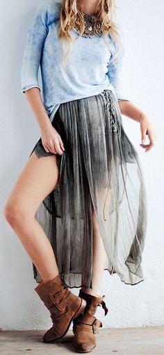 sheer skirt + boots