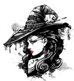 Illustration about Charming witch in a big fancy hat. Illustration of girl, hair, fashion - 124026484 Fantasy Witch, Witch Art, Photo Portrait, Photo Art, Witch Drawing, Witch Pictures, Disney Princess Cartoons, Witch Tattoo, Gothic Tattoo