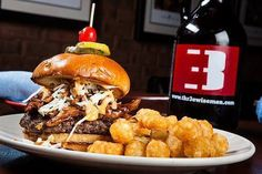 Try the Real Deal Bar-b-q Burger for lunch today. It's topped with bar-b-q pulled pork and spicy cole slaw.