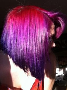 Pink and purple bob hairstyles   This is differnt...and really hot and different colored hair