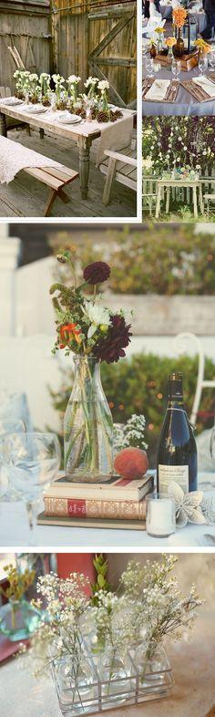 vintage glass bottles wedding table centre piece decorations
