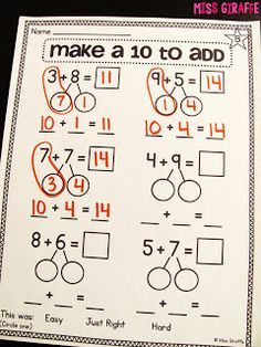Step by step directions for teaching kids making 10 to add - this is such a great way to teach it!!