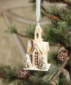 Bethany Lowe Woodland Chruch Ornament   Christmas Putz Church