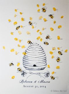 Wedding Guest Book Alternative Honey Bee Hive with by bleudetoi
