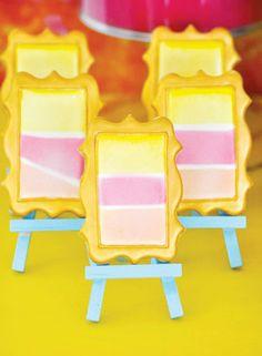 Super SWEET & Colorful Art Birthday Party // Hostess with the Mostess® Art Birthday, Birthday Parties, Cute Cookies, Mini Cookies, Sugar Cookies, Cookie Display, Rainbow Art, Art Party, Cookie Decorating