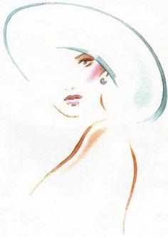 Beautiful, simple, contour portrait of a woman