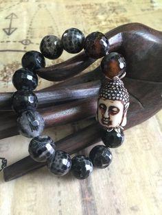 Buddha Bracelet Faceted Agate Beaded Jewelry Spiritual Yoga Bracelet by OliviaLolaBijoux on Etsy