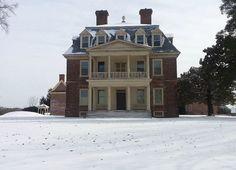 Snowfall on the Great House at Shirley Plantation