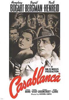 Casablanca (1942) (Casablanca) | Direção: Michael Curtiz | Roteiro:  Murray Burnett, Joan Alison, Julius J. Epstein, Philip G. Epstein, Howard Koch | Gênero: Drama, Romance | Origem: EUA | Duração: 102 min.