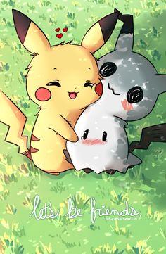 Pokemon - Pikachu And Mimikyu Pokemon Legal, O Pokemon, Pokemon Fan Art, Pokemon Fusion, Pokemon Eeveelutions, Bulbasaur, Pokemon Stuff, Pokemon Cards, Pikachu Pikachu