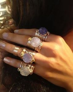 Raw Druzy Round Wire Wrap Rings                                                                                                                                                                                 More