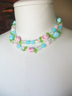 Vintage Beaded Necklace Aqua Blue Pink Glass and by tubbytabby