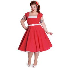 Judy Red Swing Dress at Retro Vixens
