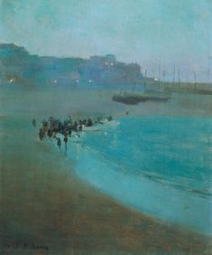 "William Evelyn Osborn, ""Beach at Dusk, St Ives Harbour"" (ca olio su tela, 61 x 51 cm; Nocturne, Seascape Paintings, Landscape Paintings, Coastal Art, St Ives, Caravaggio, Beach Scenes, Abstract Landscape, Les Oeuvres"
