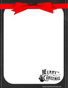 """Chalkboard border with a red ribbon that reads """"Merry Christmas"""" Free Christmas Borders, Christmas Clipart Free, Free Christmas Printables, Christmas Templates, Christmas Frames, Merry Christmas, Chalkboard Border, Border Templates, Borders For Paper"""